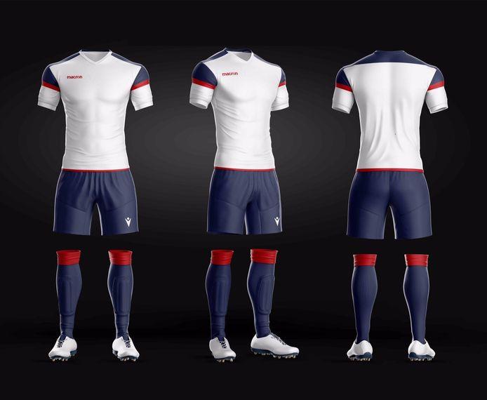 Het nieuwe shirt van SV De Braak, de nieuwe naam van de samenwerkende jeugdafdelingen van MULO en Helmondia