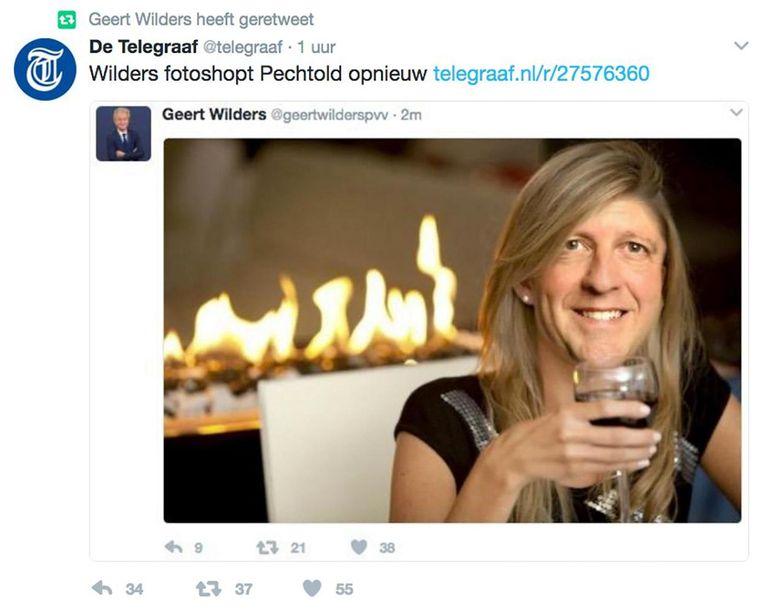 De gefotoshopte afbeelding van Pechtold als 'dramaqueen' Beeld Twitter