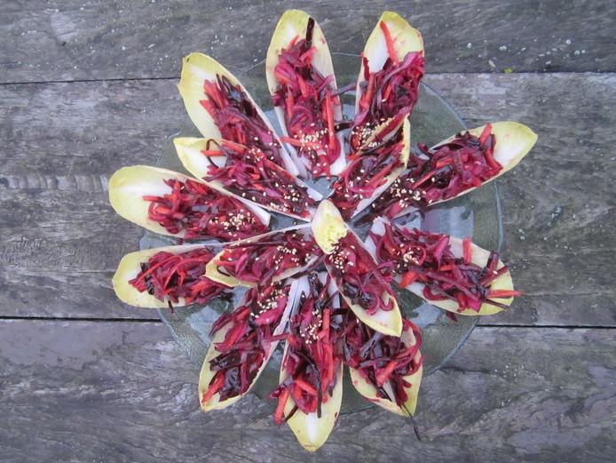 Witlof gevuld met purperen salade