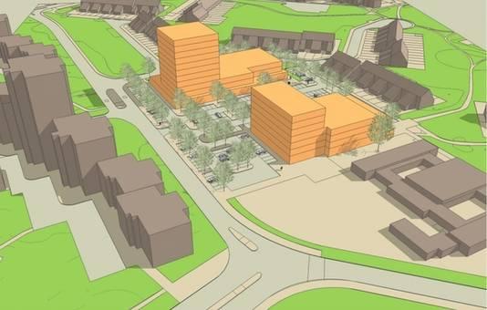 Concept-tekening uit 2015 van bouwplan voor de Weezenhof met winkels en 135 woonappartementen.