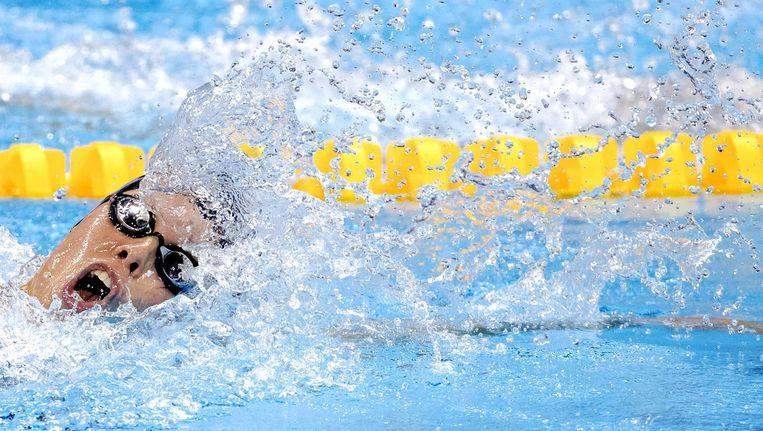Femke Heemskerk tijdens de series 200m vrije slag in het Olympics Aquatics Stadium tijdens de Olympische Spelen in Rio. Beeld anp
