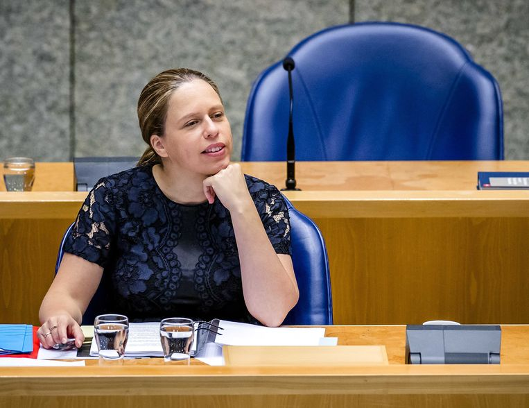 Minister Carola Schouten in de Tweede Kamer tijdens het debat over het herstel van de natuur en de economie. Beeld ANP