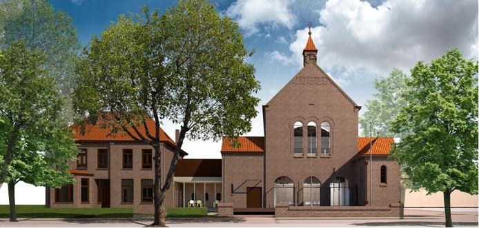 Aanpassing aan de voorkant van de kerk (zijde Kerkstraat), nadat deze onderdeel is geworden van de nieuwe mfa.