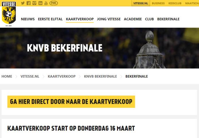 De website van Vitesse met daarop de kaartverkoop voor de berkfinale.