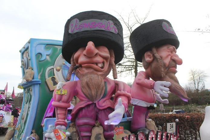 De omstreden wagen van carnavalsgroep De Vismooil'n in Aalst: een racistische karikatuur, vindt nu ook Unesco.
