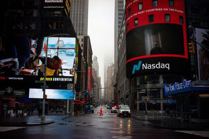 De Amerikaanse technologiebeurs Nasdaq, aan Times Square in New York.