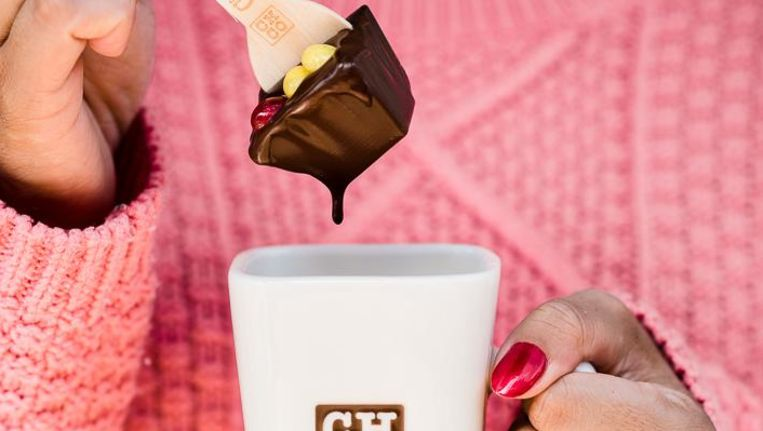 Warme chocolademelk van de Chocolate Company Beeld Chocolate Company