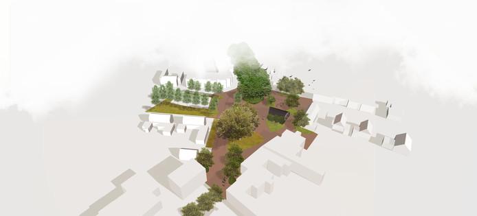 Het basisplan voor het nieuwe plein Onder de Platanen in Diepenheim. Centraal op het pleintje het karakteristieke pand van Janna. De Goorseweg (bovenin) moet met veel bomen een sfeervolle entree richting het centrum worden.