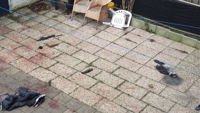 De ravage na de aanval van twee pitbulls.