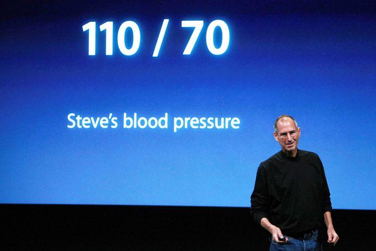 In oktober maakte Steve Jobs nog grappen over zijn gezondheid tijdens een officiële perspresentatie. (AFP) Beeld