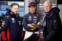 Christian Horner, Max Verstappen en Helmut Marko.