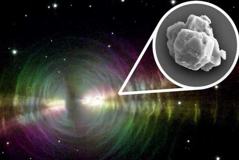 Opname van een presolaire korrel uit de Murchison-meteoriet. De stofdeeltjes zijn minuscuul klein.