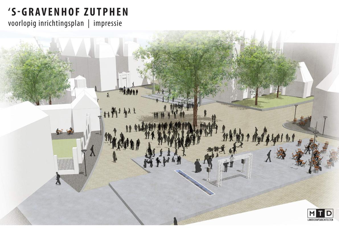 Een schets van het toekomstige 's-Gravenhof die Zutphen in februari presenteerde. Dit plan is uitgesteld en Zutphen werkt aan een concreter plan.