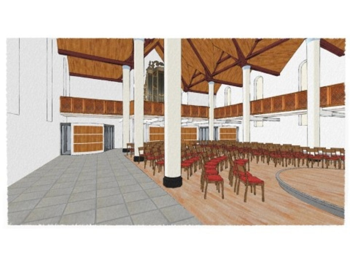 Interieur vernieuwde kerkzaal