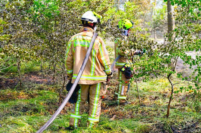 De natuurbrand op grens met België bij Bergeijk was snel onder controle.