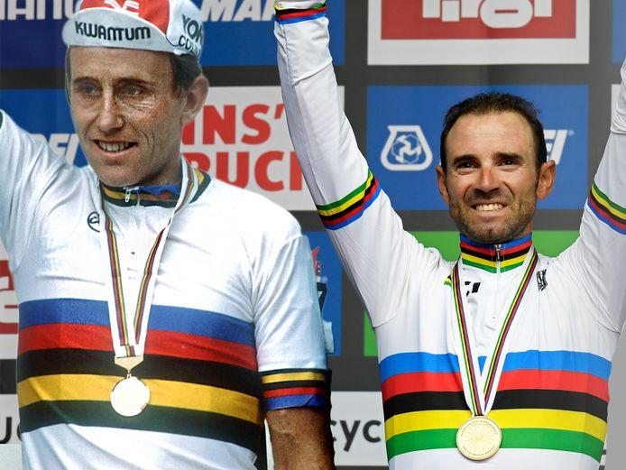 Wereldkampioen Joop Zoetemelk in 1985 en wereldkampioen Alejandro Valverde in 2018.