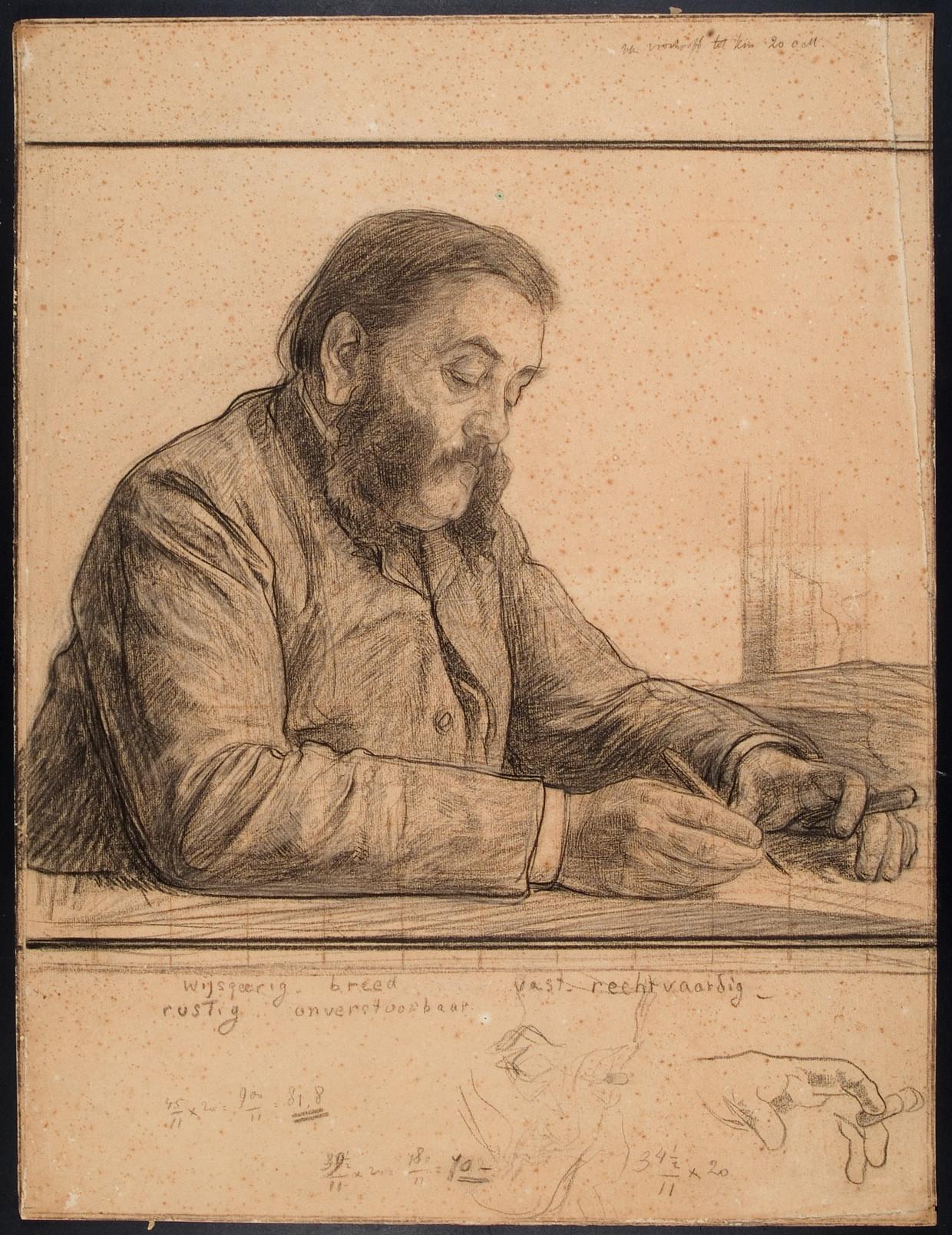 Allard Pierson op een schets voor een portret van Jan Veth uit 1889.