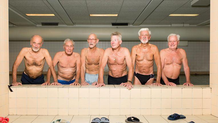 Van links naar rechts: Ger Bastiaans (78), Joop Buné (84), Noud Uijtenhaak (66), Gerrit Gooijer (73), Louis Jansen (85), Theo Laagkemper (86) Beeld Ivo van der Bent