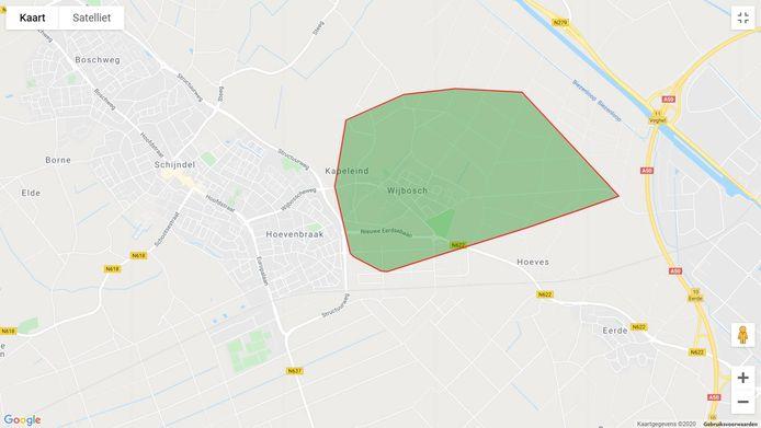 Het gedeelte van Wijbosch en Schijndel dat werd getroffen door de stroomstoring van maandagavond.