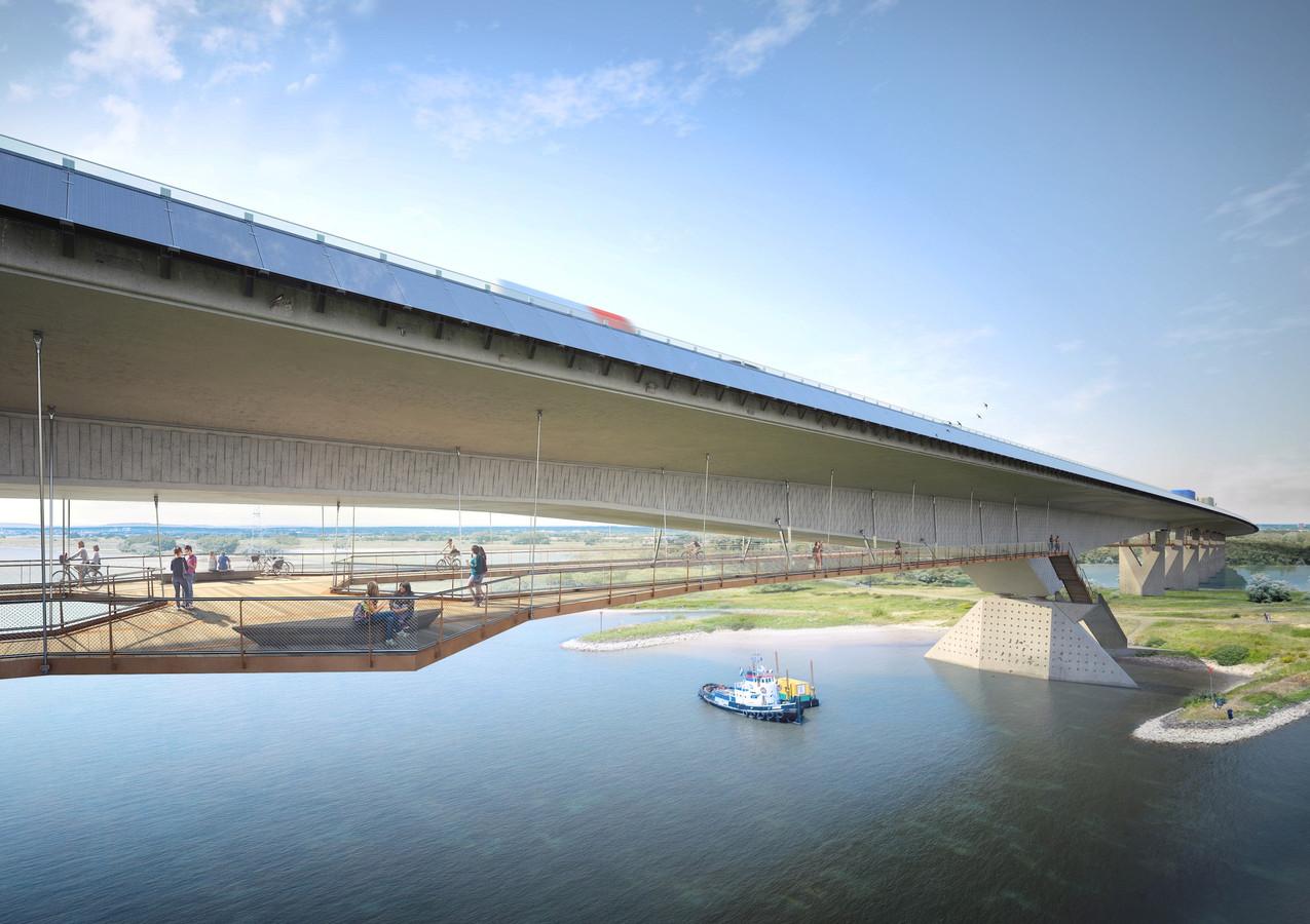 Een artist impression van de nieuwe brug over het Pannerdensch Kanaal, die bij een doortrekking van de A15 gerealiseerd moet worden.