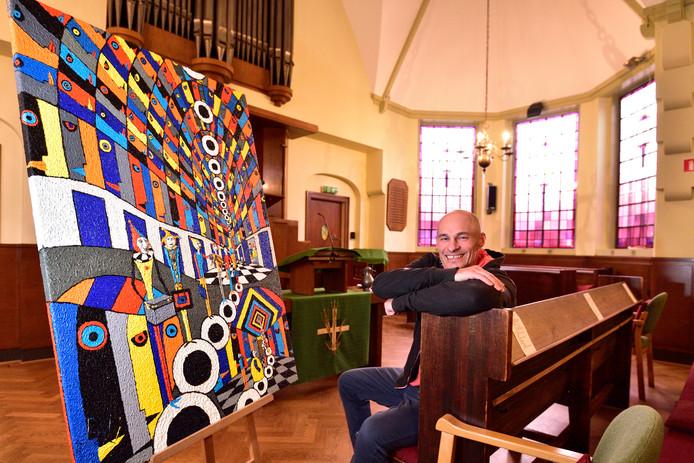 Onder de artiestennaam Dziki exposeert de Poolse Arkadivisz Zakowicz zaterdag in de Remonstrantse Kerk.