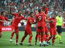 Opluchting bij Turkije na de winnende treffer van Ozan Tufan tegen Andorra (1-0).