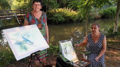 May en Chris schilderen op 'Montmartre aan de Nete'