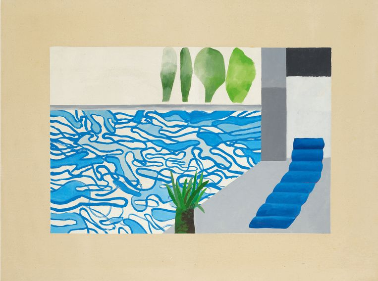 Avondveiling 14 november kavel 8:  David Hockney, Picture of a Hollywood Swimming Pool, geschatte opbrengst: 5-7 miljoen euro. Beeld Courtesy Sotheby's