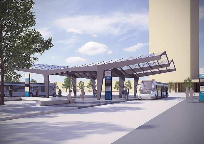 Het nieuwe busstation dat de komende maanden wordt gebouwd op de Montgomerylaan, ter hoogte van de T-kruising met de Winston Churchilllaan.