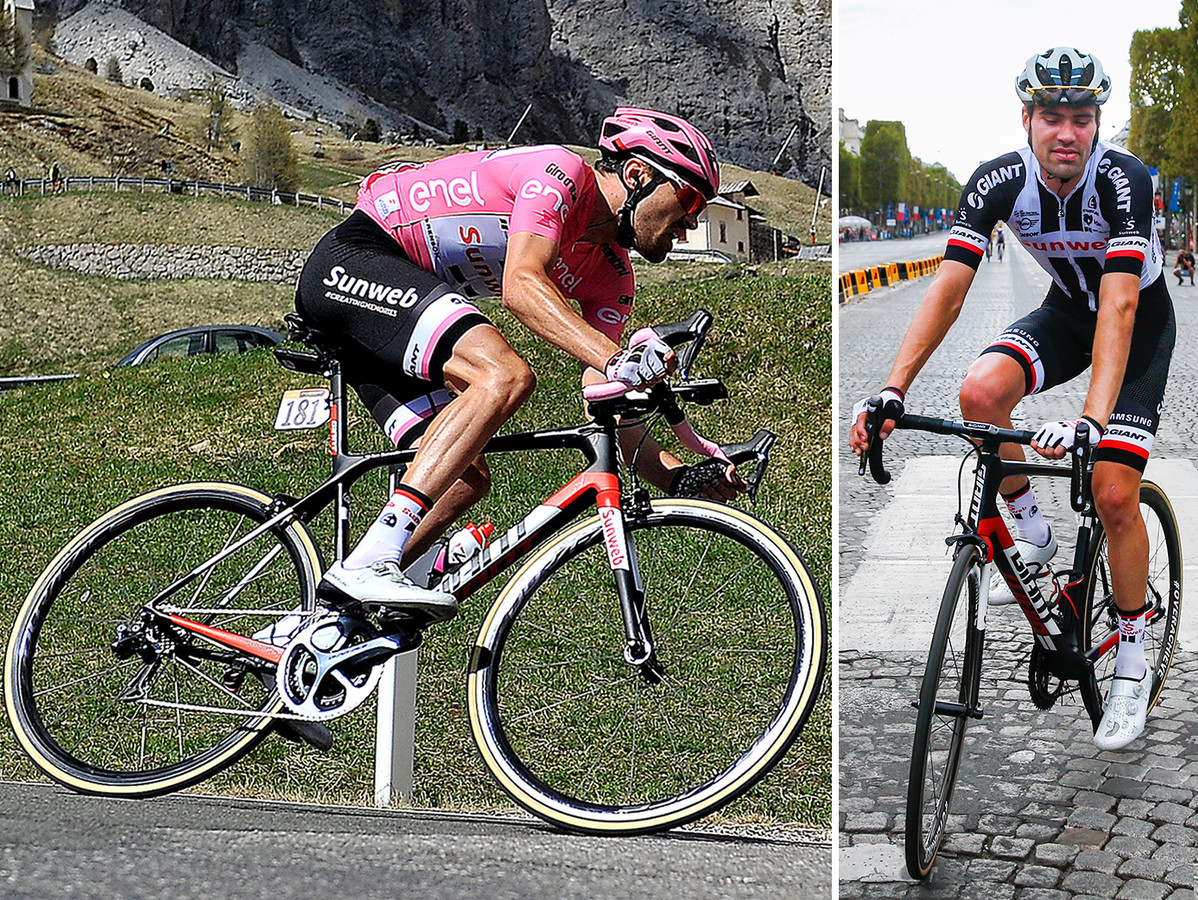 Tom Dumoulin in 2017 in de Giro en in 2018 op de Champs-Élysées in Parijs.