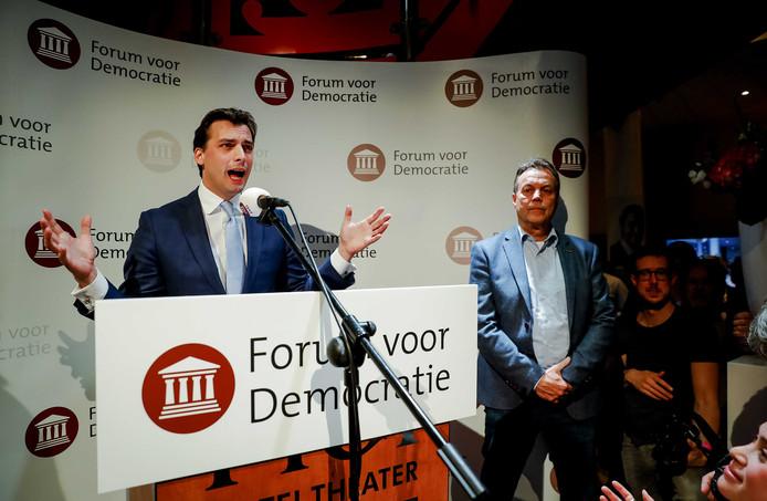 Lijsttrekker Thierry Baudet van Forum voor Democratie (FvD) tijdens de uitslagenavond