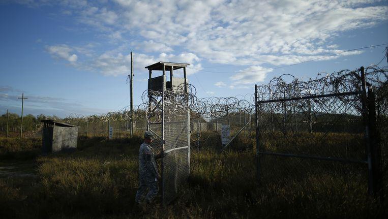 Het inmiddels gesloten Camp X-Ray, waar al-Qaeda en Talibaan-gevangenen werden vastgehouden. Beeld ap