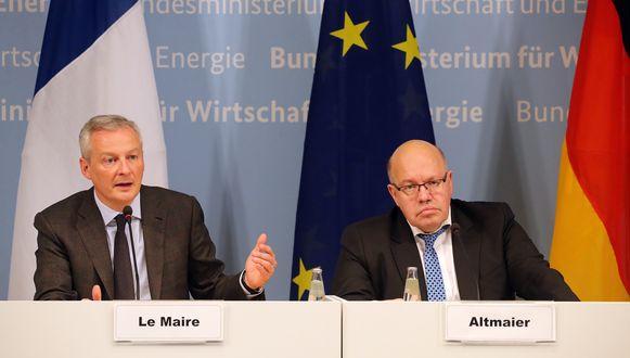 De Franse minister van Economie Bruno Le Maire  en zijn Duitse ambtgenoot Peter Altmaier gaven een persconferentie over hun initiatief.