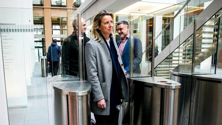 Kajsa Ollongren, minister van Binnenlandse Zaken, na afloop van het coalitieoverleg over de wiv. Beeld anp