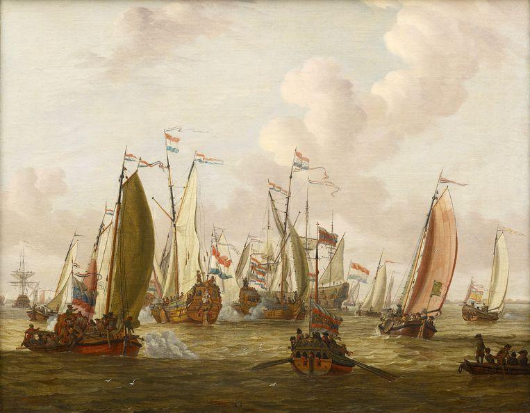 Abraham Storck, Spiegelgevecht op het IJ ter ere van Tsaar Peter de Grote op 1 september 1697.  Beeld Museum Bredius