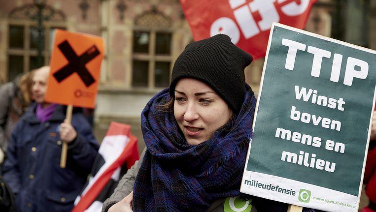 Actievoerders van Milieudefensie bij een eerder protest in Den Haag. Beeld anp