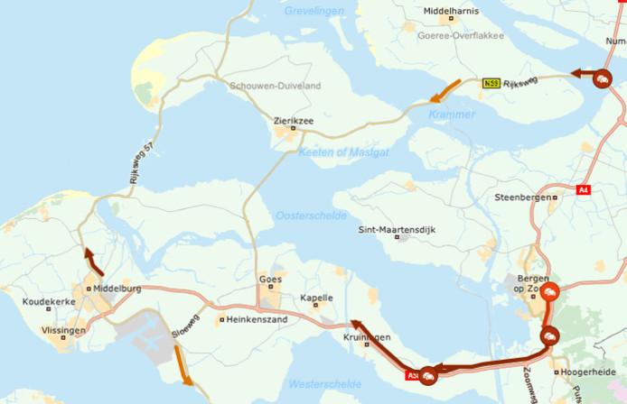 De situatie op de weg om 12.45 uur. Toen stond er 30 kilometer tussen Bergen op Zoom en de afrit Kapelle.