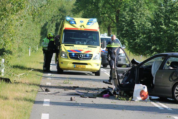 Een ongeval op de N286 op Tholen, archieffoto 2017