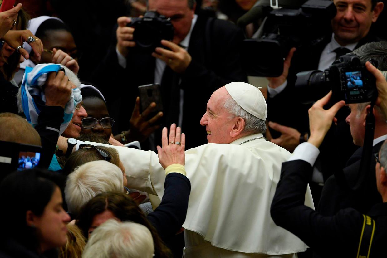 Paus Franciscus tijdens zijn wekelijkse audiëntie in het Vaticaan.