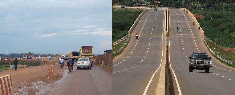 Links: De weg rondom Kampala in aanleg. Het project wordt betaald door de Europese Unie. Rechts: De door Chinezen gefinancierde en aangelegde Entebbe-Kampala Expressway. Beeld Twitter/Reuters
