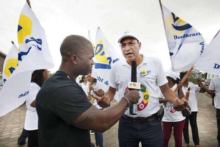 Winston Jesserun van DA'91, dat deel uitmaakt van het oppositieblok V7, gaat stemmen. 'Als Bouterse weg is bij de NDP, kunnen we praten over een eventuele samenwerking. Maar Bouterse is nu de NDP, dat is het grote probleem.' Beeld Guus Dubbelman/de Volkskrant