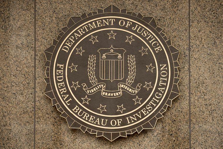Het logo van de FBI op het J. Edgar Hoover FBI Building in Washington.