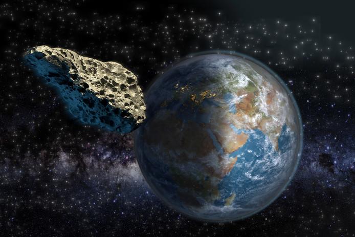 Een asteroïde scheert rakelings langs de aarde (ter illustratie)