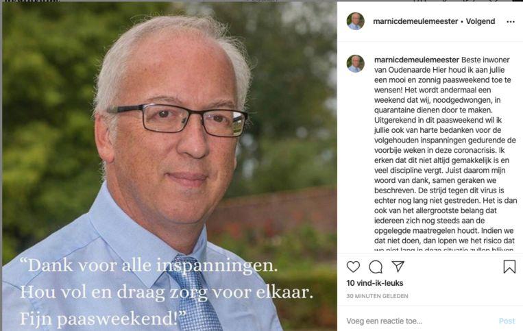 """De Meulemeester postte zijn """"paasboodschap"""" op sociale media."""