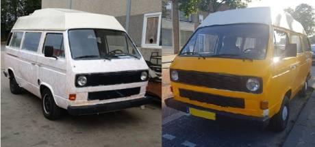 Knalgeel busje, gestolen in Tilburg, duikt zonder dak en wit gespoten in de haven van Antwerpen op