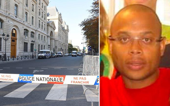 À gauche, la préfecture de Paris. À droite, Mickaël Harpon.