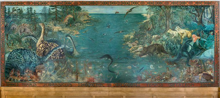 Een van de wandschilderingen van Maria Hubrecht in het Joke Smit College in Amsterdam. Ze schilderde tussen 1925 en 1928 zeven doeken met de flora en fauna uit acht geologische tijdperken. Beeld RV