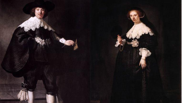 De portretten van Maerten Soolmans (links) en Oopjen Coppit door Rembrandt. Beeld .