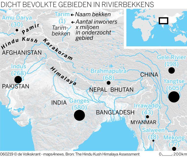 Dichtbevolkte gebieden in rivierbekkens. Beeld De Volkskrant