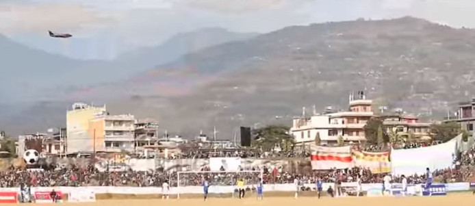 Het voetbalstadion in districtshoofdstad Pokhara.